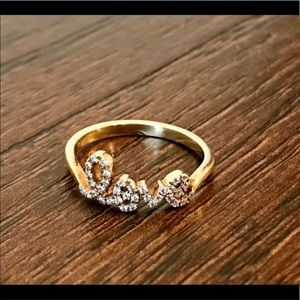 """Gold Over Sterling CZ """"love"""" Ring"""